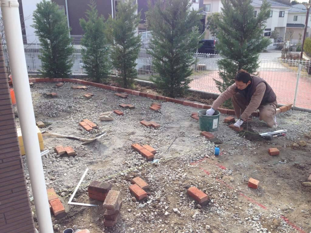 真砂土舗装 施工中